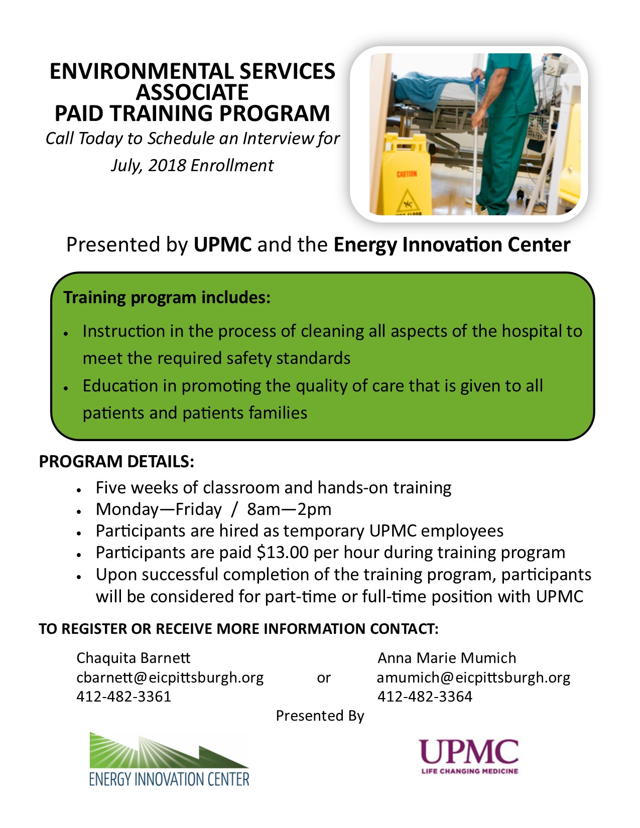 UPMC PAID ENVIRONMENTAL SERVICES ASSOCIATE PAID TRAINING PROGRAM